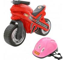 """Каталка-мотоцикл """"МХ"""" со шлемом арт. 46765. ПОЛЕСЬЕ"""