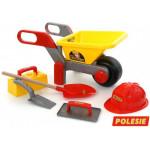 Тачка №4 с игрушками набор каменщика №4 «Construct» 5 элементов. Арт. 50229. ПОЛЕСЬЕ