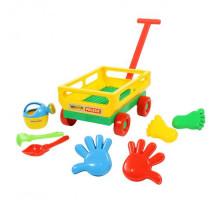 Детская тележка с комплектом для игры в песочнице «Набор № 486» Wader арт. 45744. ПОЛЕСЬЕ