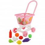 """Тележка """"Supermarket"""" №1 (розовая) + набор продуктов (в сеточке) арт. 68477. ПОЛЕСЬЕ"""