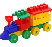 Конструктор - Паровоз с одним вагоном арт. 2037. Полесье