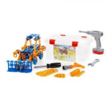 """Конструктор """"Изобретатель"""" - """"Трактор-погрузчик №1"""" (142 элемента) + шуруповёрт (в контейнере) арт. 58119. Полесье"""