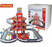 Детская игрушка паркинг  4-уровневый с дорогой и автомобилями (красный) (в коробке) арт. 44723. Полесье