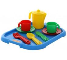 Игровой набор детской посуды  Анюта  с подносом на 2 персоны арт. 3865. Полесье