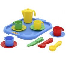Детский набор посуды  Анюта  с подносом на 4 персоны арт. 3889. Полесье