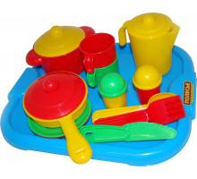 Детский набор посуды  Настенька  с подносом на 2 персоны арт. 3940. Полесье
