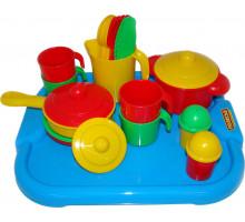 Набор детской посуды  Настенька  с подносом на 4 персоны арт. 3964. Полесье
