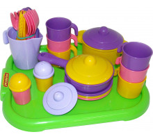 Игровой набор посуды  Настенька  с подносом на 6 персон арт. 3971. Полесье