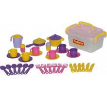 Детский набор посуды  Настенька  на 6 персон (38 элементов) (в контейнере) арт. 56580. Полесье