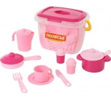 Набор детской посуды  Настенька  на 4 персоны (28 элементов) (в ведёрке) арт. 56566. Полесье