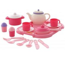 Набор детской посуды  Настенька  с подносом на 2 персоны (19 элементов) (в сеточке) арт. 59000. Полесье