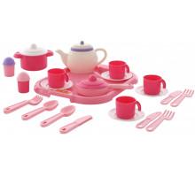 Набор детской посуды  Настенька  с подносом на 4 персоны (29 элементов) (в сеточке) арт. 59024. Полесье