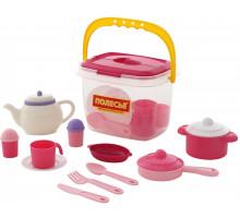 Набор детской посуды  Настенька  на 4 персоны (29 элементов) (в ведёрке) арт. 59031. Полесье