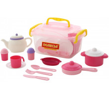 Детский набор посуды  Настенька  на 6 персон (39 элементов) (в контейнере) арт. 59055. Полесье