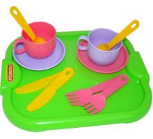 Детский набор посуды  Минутка  с подносом на 2 персоны арт. 9516. Полесье