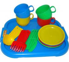 Игровой набор посуды  Минутка  с подносом на 4 персоны арт. 9530. Полесье