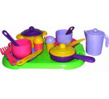 Игровой набор посуды  Хозяюшка  с подносом на 2 персоны арт. 4053. Полесье