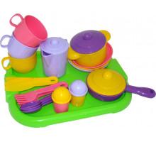 Набор детской посуды  Хозяюшка  с подносом на 3 персоны арт. 4046. Полесье