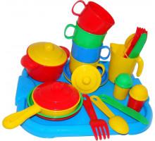 Детский набор посуды  Хозяюшка  с подносом на 4 персоны арт. 4039. Полесье