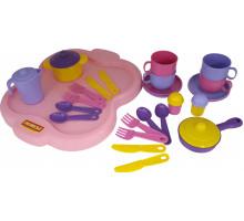 Набор детской посуды  Янина  с подносом на 4 персоны арт. 4060. Полесье