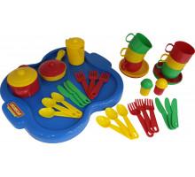 Детский набор посуды  Янина  с подносом на 6 персон арт. 4077. Полесье