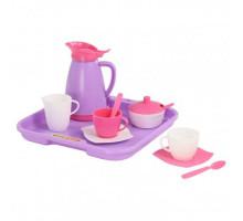 Набор детской посуды  Алиса  с подносом на 2 персоны (Pretty Pink) арт. 40589. Полесье