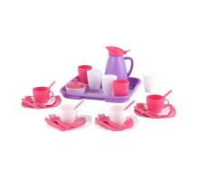 Детский набор посуды  Алиса  с подносом на 4 персоны (Pretty Pink) арт. 40657. Полесье