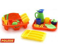 Набор детской посуды  Алиса  с сушилкой, подносом и лотком на 4 персоны арт. 40718. Полесье