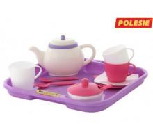 Набор детской посуды  Алиса  с подносом на 2 персоны (13 элементов) (в сеточке) арт. 58959. Полесье