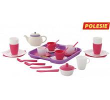 Набор детской посуды  Алиса  с подносом на 4 персоны (35 элементов) (в сеточке) арт. 58973. Полесье
