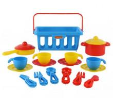 Детский набор посуды  TOP chef  с корзинкой №2 на 4 персоны (в сеточке) арт. 42651. Полесье