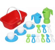 Набор детской посуды  TOP chef  с корзинкой на 3 персоны (в сеточке) арт. 42637. Полесье