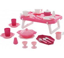 Детский набор посуды  Ретро  с подносом (29 элементов) (в сеточке) арт. 61737. Полесье