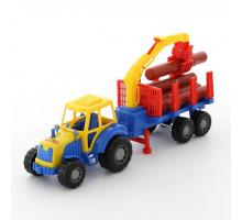 Детская игрушка Мастер трактор с полуприцепом-лесовозом цвет голубой арт. 35295. Полесье