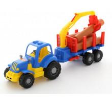 Игрушка Полесье Силач, трактор с полуприцепом-лесовозом арт. 45041