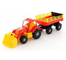Детская игрушка трактор с прицепом №2 и ковшом Силач арт. 45034. Полесье