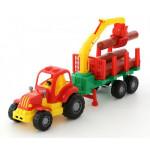 Игрушка детская Полесье трактор с полуприцепом-лесовозом Крепыш арт. 44815
