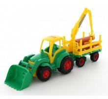 Детская игрушка Полесье трактор с ковшом + прицеп-лесовоз Чемпион (в сеточке) арт. 0483