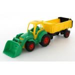 Игрушка Полесье Чемпион трактор с ковшом и полуприцепом (в сеточке) арт. 0438