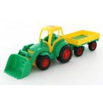 Игрушка трактор с ковшом и прицепом Чемпион (в сеточке) арт. 0520. Полесье