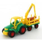 Детский трактор + прицеп-лесовоз Чемпион (в сеточке) арт. 8229. Полесье