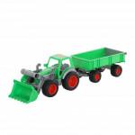 Игрушка детская Полесье Фермер-техник трактор-погрузчик с прицепом (в сеточке) арт. 8817