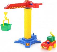 Детская игрушка башенный кран №1 + автомобиль арт. 58195. Полесье