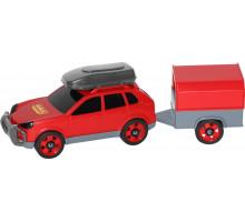 Детская игрушка автомобиль легковой с прицепом (в сеточке) арт. 53688. Полесье