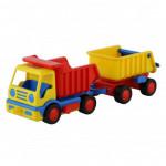 Детская игрушка автомобиль-самосвал с прицепом (в сеточке) Базик арт. 9647. Полесье