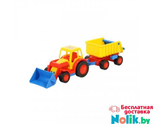 Детская игрушка  трактор-погрузчик с прицепом (в сеточке) Базик арт. 9623. Полесье в Минске