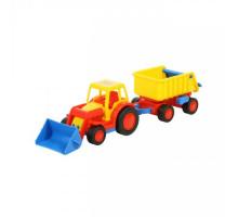 Детская игрушка  трактор-погрузчик с прицепом (в сеточке) Базик арт. 9623. Полесье
