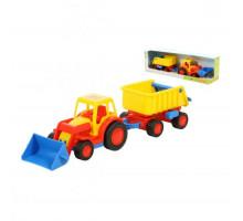 Детская игрушка  трактор-погрузчик с прицепом (в коробке) Базик арт. 37657. Полесье