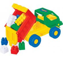Детская игрушка  машинка Кузя + конструктор СТРОИТЕЛЬ (12 элементов) арт. 1283. Полесье