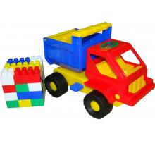 Детская игрушка  машинка Кузя + конструктор СТРОИТЕЛЬ (18 элементов) №16 арт. 1290. Полесье